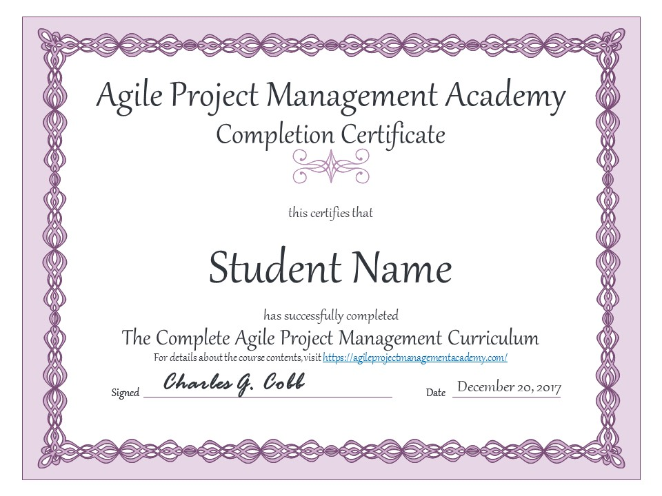 Agile Project Management Training Completion Certificate